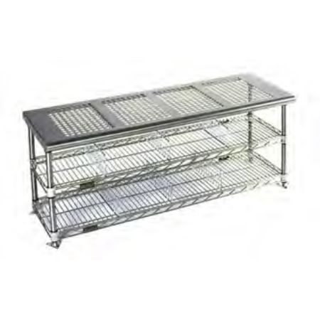 Gowning bench with standard undershelf